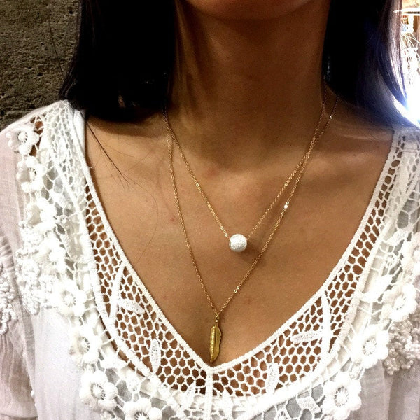 Minimalist feather necklace, Gold necklace, Dainty feather pendant, Gold Feather necklace, Layering gold Necklace, Gift for her - AFN 118