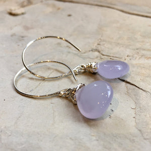 Lavender Chalcedony Earrings, Sterling silver circle hook Earrings, Dangle stone Earrings, wire wrap silver Hoops, drop earrings - E8068-1