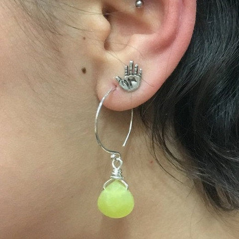 Sterling silver Hoop Earrings, Dangle gemstone Earrings, dainty silver Hoops, yellow jade nugget Earrings, beaded drop earrings - E8068-5
