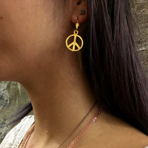 Peace symbol earrings, Gold Earrings, dangle Earrings, Light Weight Earrings, casual earrings, gold peace earrings, teen gift  AFE 500