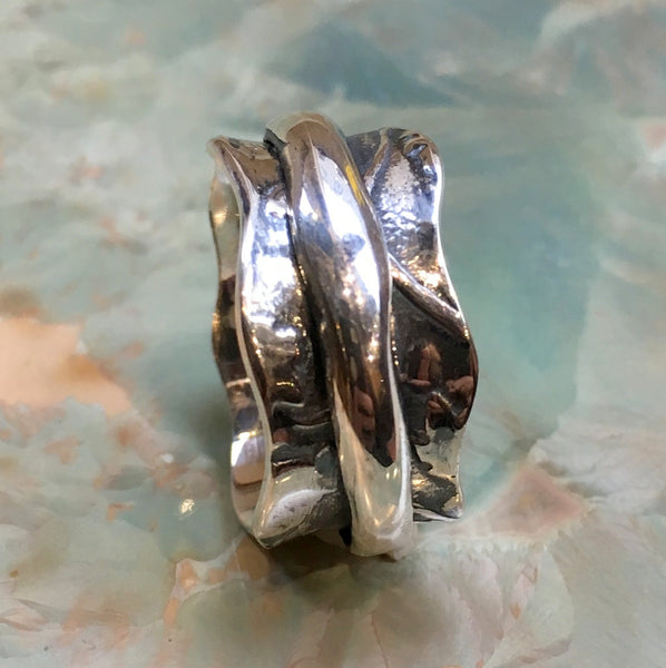 Silver spinner ring, botanical ring, leaves ring, Wedding band, Sterling silver band, meditation ring, Rustic ring, gift  - Feeling R2458