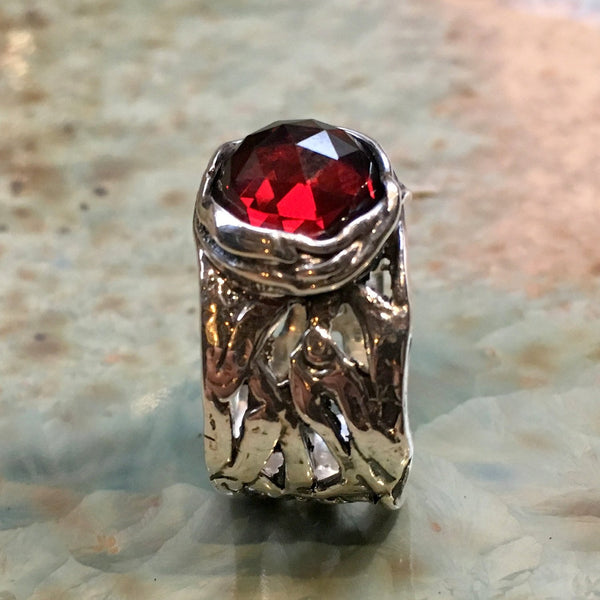 Garnet ring, Silver engagement ring, boho ring, wide silver ring, unique engagement ring for her, gypsy ring, casual - Endless love R2153S