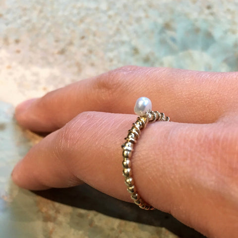 Birthstone ring, Gold pearl ring, Gold Filled brass ring, stacking ring, personalised ring, dainty ring, stone ring - The Look Of Love R2467