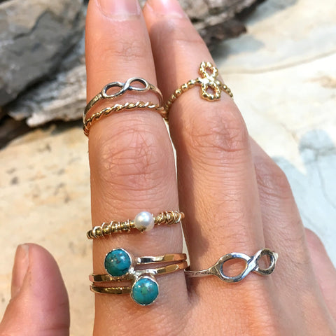 Birthstone ring, stacking ring, Gold pearl ring, Gold Filled brass ring, personalised ring, dainty ring, stone ring - The Look Of Love R2467