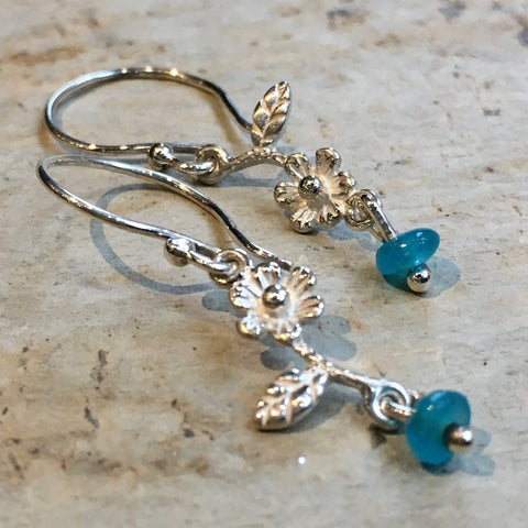 Simple flower earrings, sterling silver earrings, blue quartz earrings, floral earrings, dangle earrings, dainty earrings - In Dreams E8061