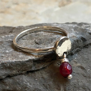 Garnet ring, January birthstone ring, mothers ring, stacking ring, personalised ring, family stones ring, dainty ring - Your Colors R2499