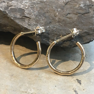 Simple Hoops, Gold Filled earrings, Hoop Earrings, Hammered hoop Earrings, dainty earrings, gold hoops, dainty hoops- Simple life E8069