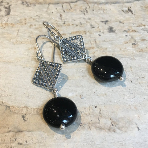 Long silver Earrings, Sterling silver onyx Earrings, Dangle stone Earrings, drop earrings, filigree earrings, casual earrings - Proud E8070