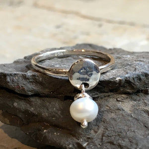 Pearl ring, dangle birthstone ring, mothers ring, stacking ring, personalised ring, family stones ring, june ring - Your Colors R2499-2