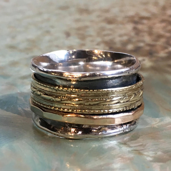 Stacking spinner ring, Meditation Ring, silver gold band, unisex ring, wide silver ring, Matching wedding ring - All of Me loves you R2515