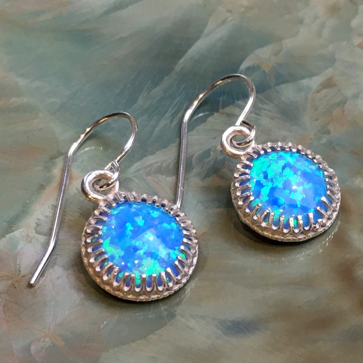 Silver opal earrings, blue stone earrings, crown earrings,boho Dangle earrings, casual earrings, Small gemstone earrings - A Spark E8060