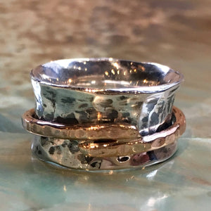 Silver gold ring, spinner ring, Fidget ring, Gypsy ring, Sterling silver ring, Wire ring, Bohemian ring, wedding band -  Spinning R2521
