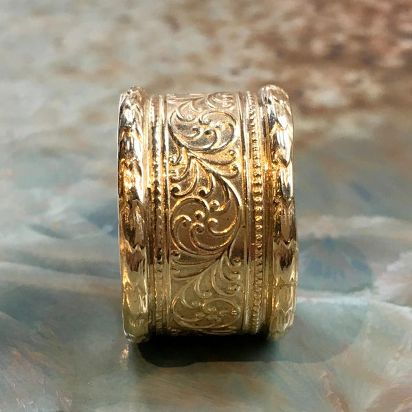 Brass ring, Unisex wedding band, womens ring, vine ring, wide ring, golden brass band, boho ring, simple ring, lace ring - Believe RK1741