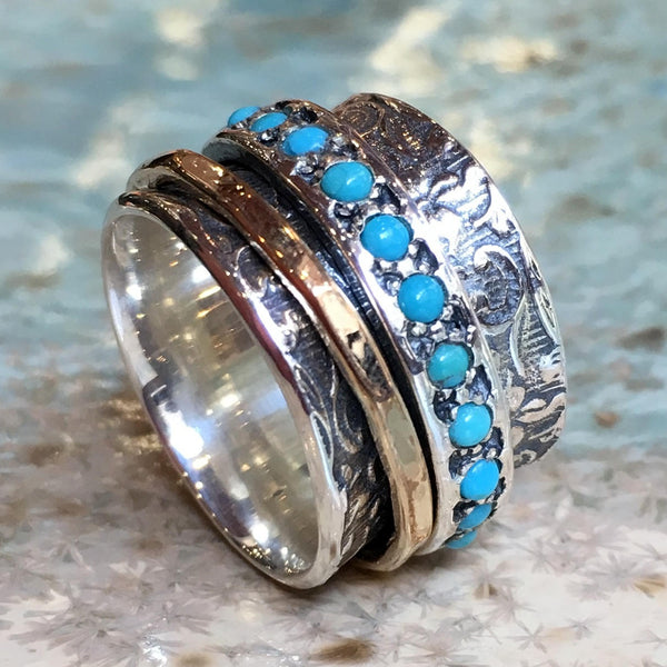 Blue turquoise ring, gold filled spinner ring, Meditation ring, Silver band, wide silver ring, wedding ring - Edge of the World R1209G-5