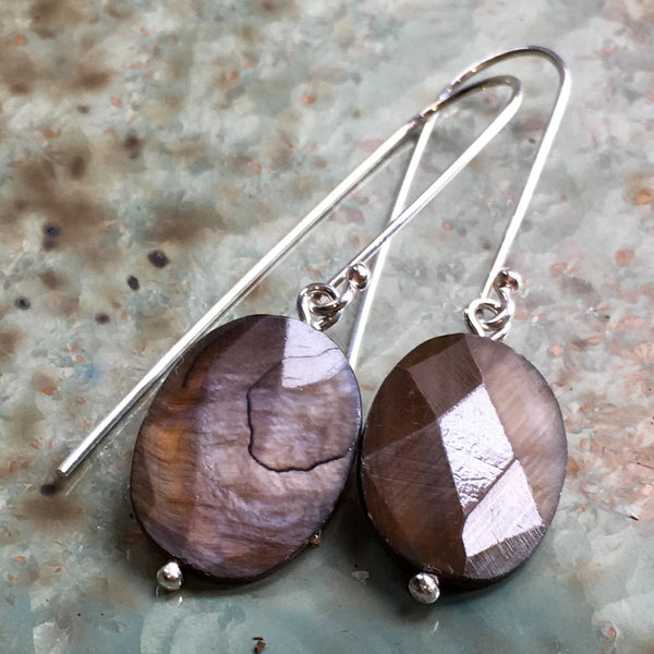 Sterling silver brown agate Earrings, Dangle earrings, oval stone Earrings, Long Earrings, drop earrings, casual earrings - Soft spot E8082
