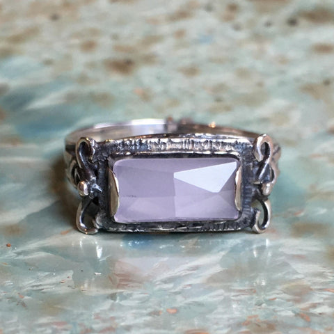 Sterling silver smoky quartz gemstone ring Rectangle stone ring The sky is the limit R1400