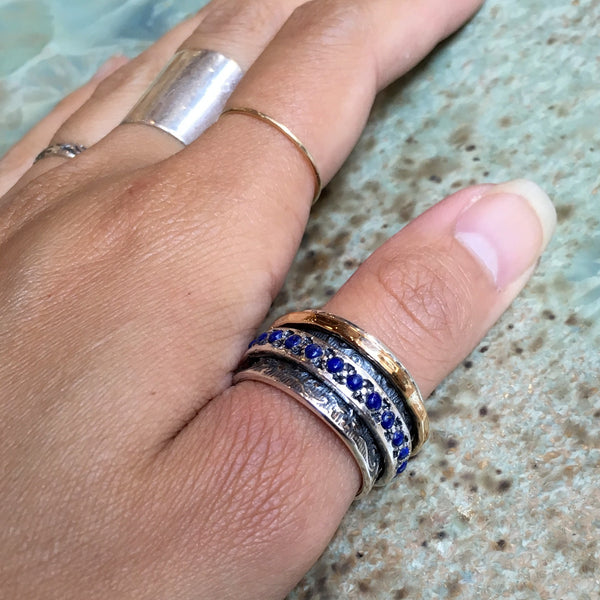Lapis ring, wide silver ring, Meditation ring, Silver gold filled ring, two tones stacking ring, wedding ring - Edge of the World R1209G-4