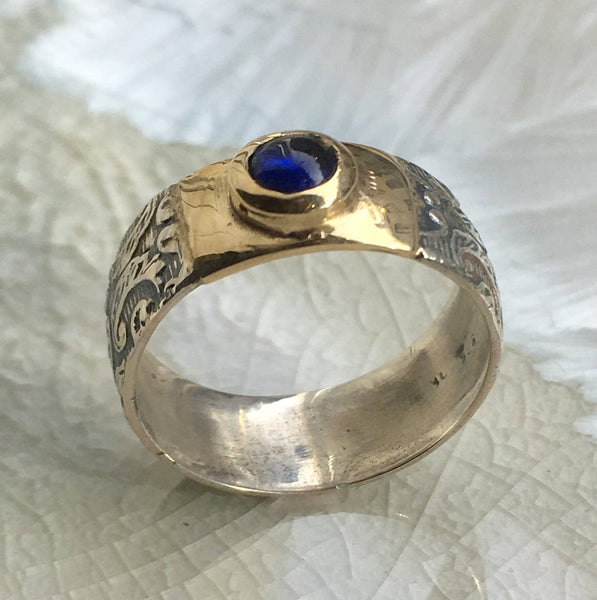 Blue sapphire Silver Gold Ring