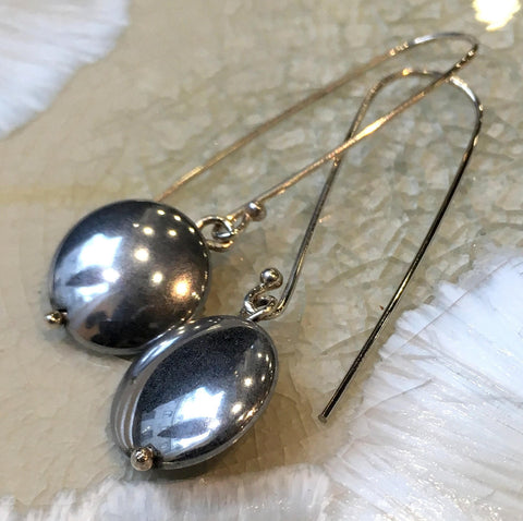 Sterling silver Hematite Earrings, Dangle earrings, stone Earrings, Long silver Earrings, drop earrings, casual earrings - Dark E8079-1