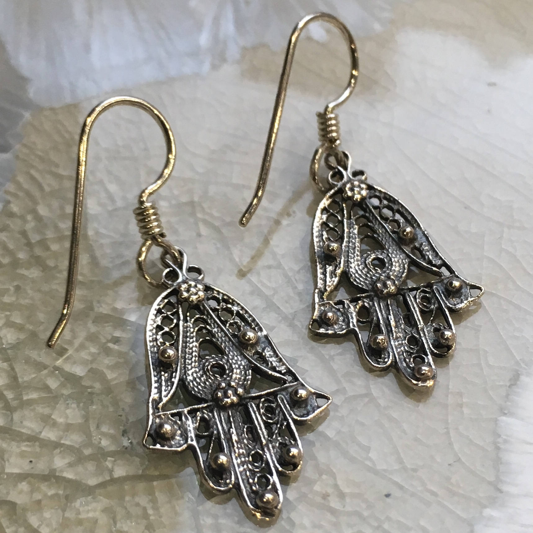 Hamsa hand Earrings, drop earrings, Sterling silver Earrings, Dangle hamsa Earrings, dainty earrings, filigree hamsa earrings - E8078S