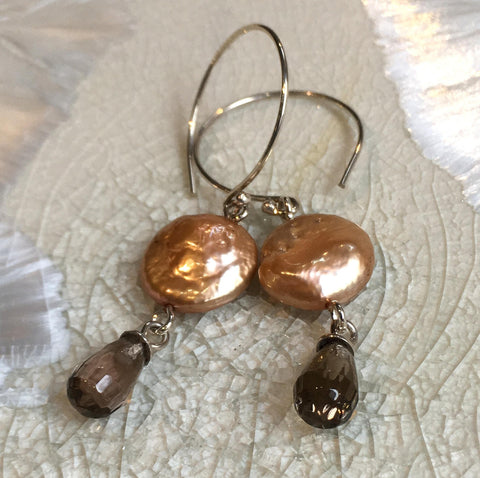 Sterling silver earrings, bronze coin pearl Earrings, Dangle earrings, smoky quartz Long Earrings, drop casual earrings - Soft heart E8084