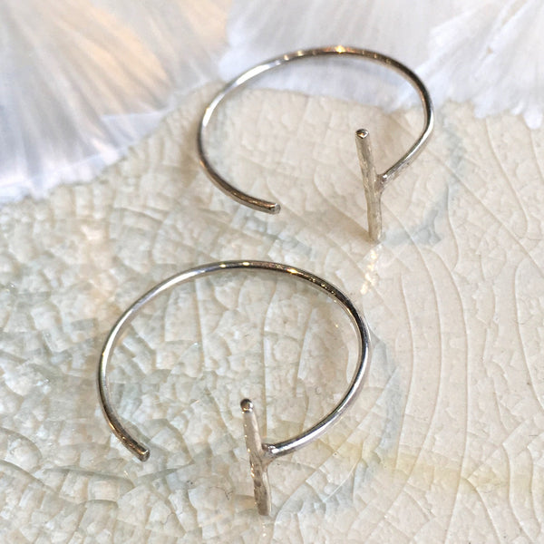 silver Hoops, Threader earrings, Hoop Earrings, Loop Earrings, Simple bar Earrings, minimal earrings, dainty earrings, casual - Safe E8085