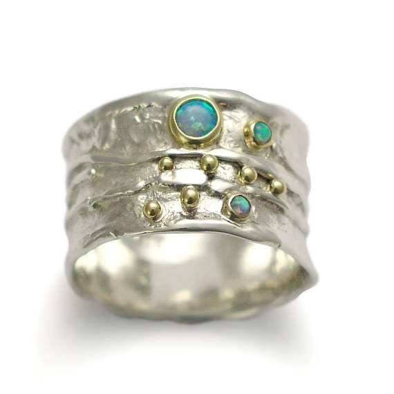 Blue opals band, Sterling silver band, gemstones band, silver yellow gold ring, two tones ring, organic ring, mothers ring -  Dreamy. R1077X