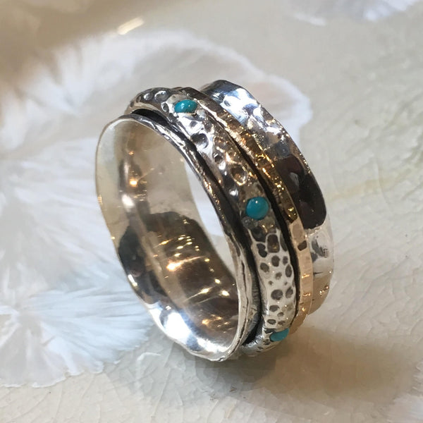 Silver spinner ring, silver gold ring, teal turquoise ring, meditation ring, stone ring, unisex ring, wide silver band - On the edge R1355