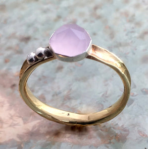 Birthstone ring, mothers ring, rose quartz ring, stacking ring, personalised ring, stone ring, dainty ring, brass ring - Dawn R2574