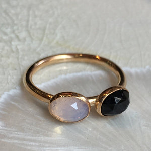 Birthstones ring, custom family ring, stacking ring, Mothers ring, Gold Filled ring, onyx opalite gemstone ring - Two of a Kind R2575