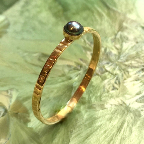 Black pearl ring, birthstone ring, Gold ring, brass ring, delicate stacking ring, custom ring, dainty ring, gemstone ring - Easy Lover R2503