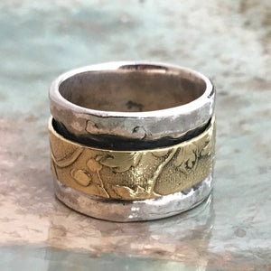 Silver brass spinner ring, simple ring, meditation ring, wide silver ring, wedding band, floral ring, wide flower ring - Soft sands R2567