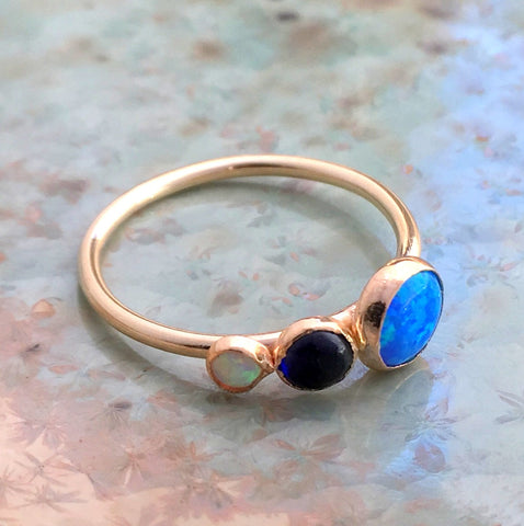 Birthstones ring, custom family ring, stacking ring, Mothers ring, Gold ring, Gold Filled ring, multi stone ring - Say anything R2559-1