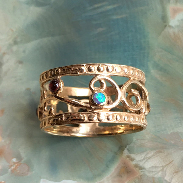 Solid yellow Gold wedding Band, gypsy ring, multistones band, boho birthstone ring, dainty ring, 14k gold ring - Shades of spring RG1267
