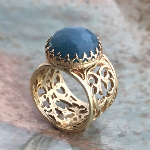 Gold aquamarine Ring, 14k solid gold crown ring, milky aquamarine ring, gemstone ring, cocktail ring, filigree ring - Jean blue RG2573