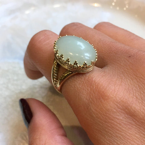 Jade ring, 14k Gemstone ring, Solid Gold ring, statement ring, cocktail ring, crown ring, birthstone ring, boho ring - My first love RG2058