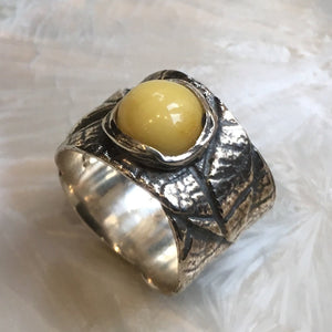 Yellow agate leaf ring - A Simple day R2615