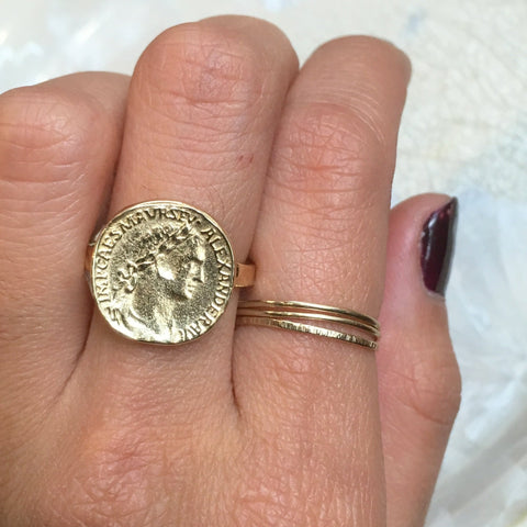 Solid gold Coin ring - My icon RG1493