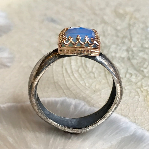 Sterling Silver Ring, silver gold ring, opalite ring, engagement ring, wedding ring, filigree ring, Victorian ring - White winter R2600