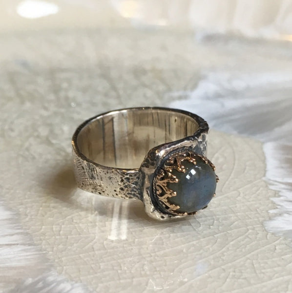 Crown Ring, silver gold ring, labradorite ring, statement ring, gemstone ring,  organic filigree ring, cocktail ring - I choose you R2601
