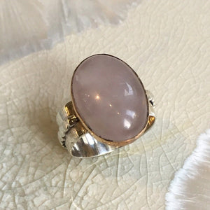 Rose quartz ring, statement ring, Cocktail Ring, sterling silver ring, silver gold ring, gemstone ring, bohemian jewelry  - Soft Love R2602