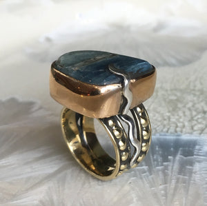Kynite ring, Blue gemstone ring, Silver Gold ring, oxidised ring, raw kynite ring, statement ring, one of a kind ring - Quite Wind R2606