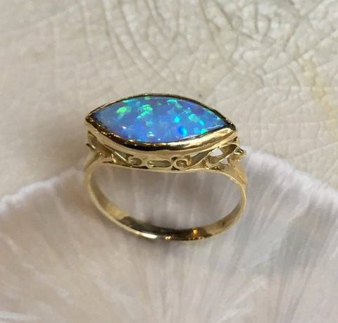 Opal Ring, Golden brass Ring, blue stone ring, victorian ring, antique style ring, ornate ring, dainty filigree ring - My obsession RK1215