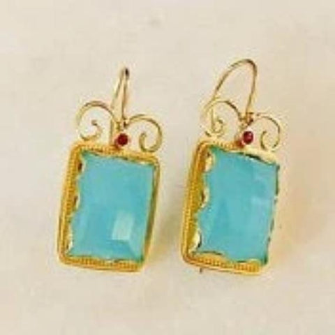 Solid gold blue quartz tourmaline rectangle earrings - Once upon a time EG8837