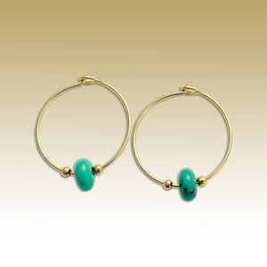 Turquoise Earrings, gemstones hoops, simple earrings, gold hoops, casual hoops, dainty earrings, little hoops, fine hoops - Whisper E90000