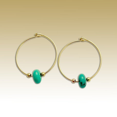 Gold turquoise Earrings, Hoop Earrings, dainty Gold Hoops, minimal Earrings, beaded earrings, basic hoops, casual hoops - Whisper E90000