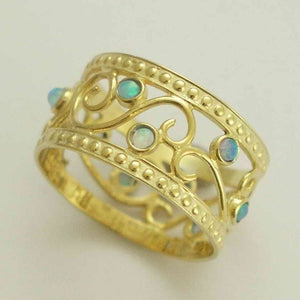Blue opal gemstones 14K yellow gold band - Shades of spring RG1267