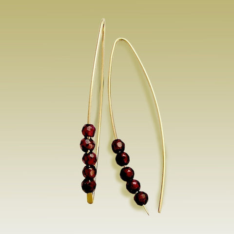 Hook Earrings, Garnet Earrings, Gold Filled Earrings, Dangle Earrings, Long earrings, Threader Earrings, Gold Hoops - Turn me on E90026