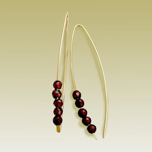 Hook Earrings, Garnet Earrings, Gold Filled Earrings, Dangle Earrings, Long earrings, minimalist Earrings, Gold Hoops - Turn me on E90026