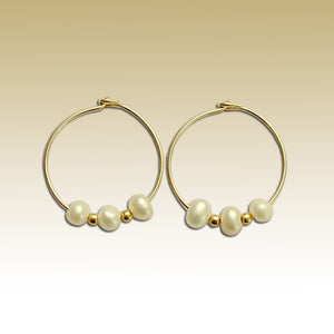 Fresh Water Pearl Earrings, Gold Filled Earrings, bridal earrings, Pearl Hoop Earrings, dainty Earrings, little hoops - Take a moment E90005